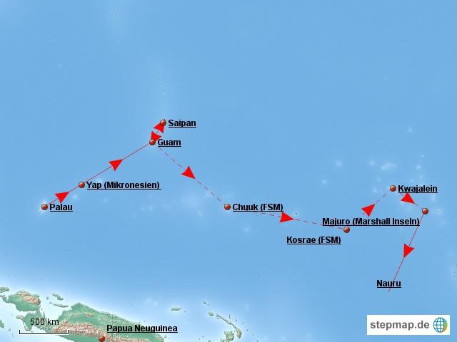 Die Inselhüpfstrecke von Guam nach Majuro
