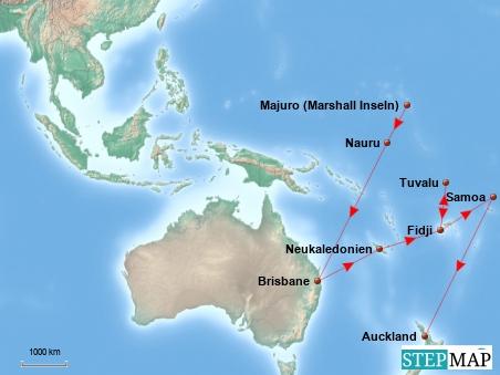 Die Entfernungen zwischen den Inseln sind so riesig, dass es kaum eine Karte gibt, auf der meine Route dargestellt werden könnte. Hier zumindest ein Überblick, Teil 1 geht bis Auckland (Neuseeland) ...