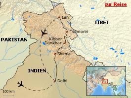 Karte von Spiti, Tso Moriri und Ladakh - Trekking und buddhistische Kultur im Himalaya