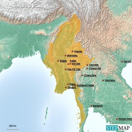 Myanmar mit wichtigen Städten und die umliegenden Länder mit Hauptstädten.