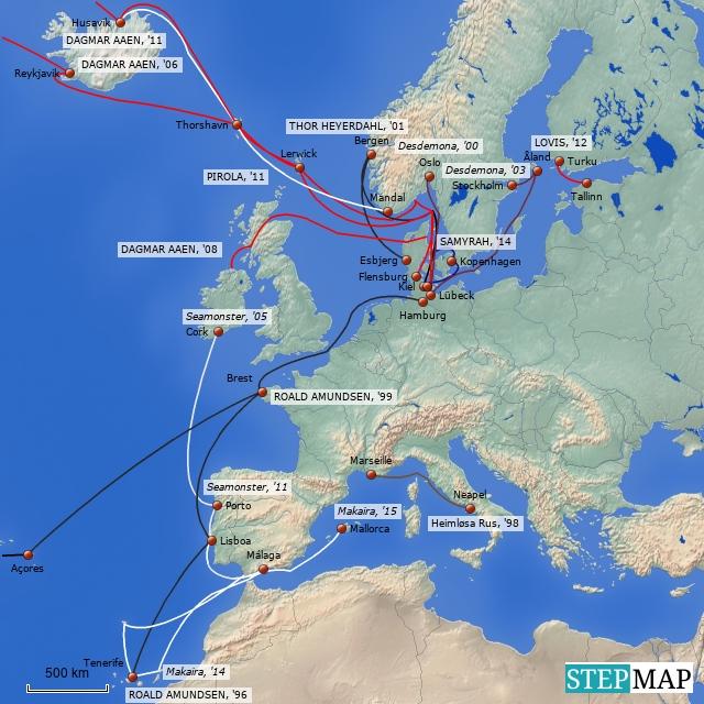 Europ. Segelreisen vom KLIMASEGLER