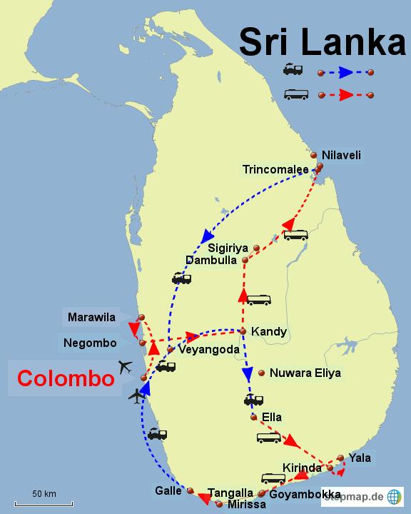 Sri Lanka_Reiseroute_4 Wochen