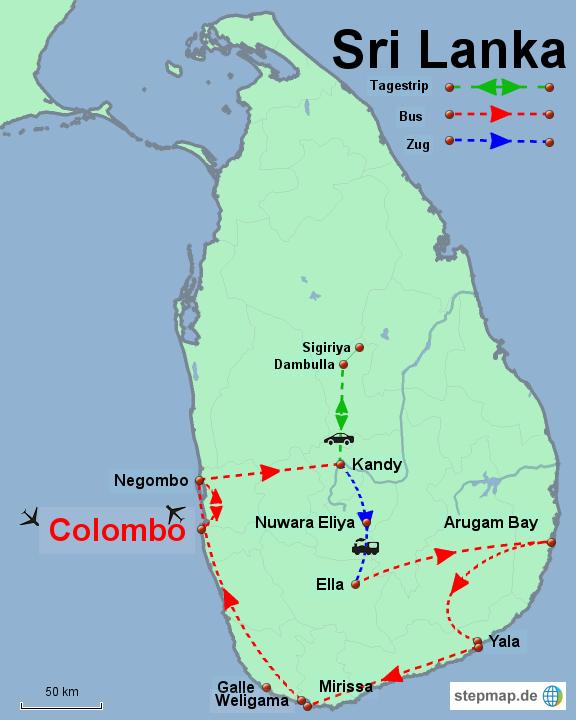 Sri Lanka_Reiseroute_3 Wochen im Oktober