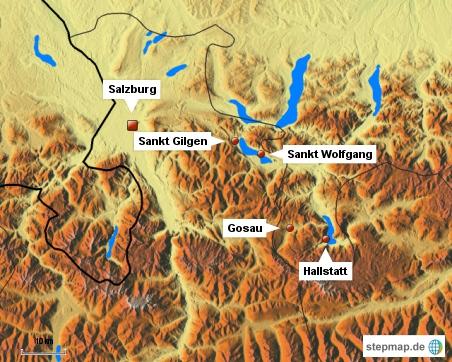 Salzburg und die besuchten Orte im Salzkammergut