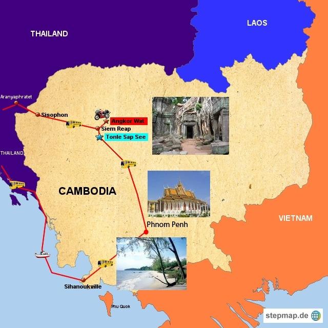 Ausgangspunkt ist Bangkok. Von dort geht es mit Bus zur kambodschanischen  Grenze und weiter durch's Land, siehe oben.  Ausreise per Schiff zurück nach Thailand und dann mit Bus nach Bangkok.