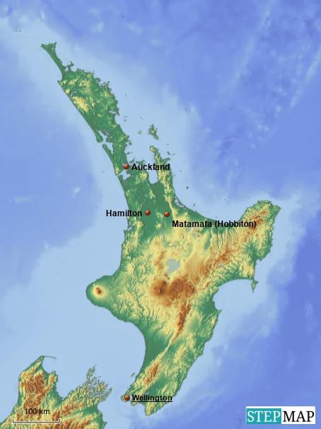 Die Nordinsel Neuseelands mit Auckland und Hobbiton