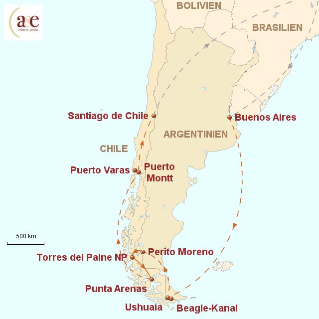 Routenkarte zur Reise Die Weite Patagoniens