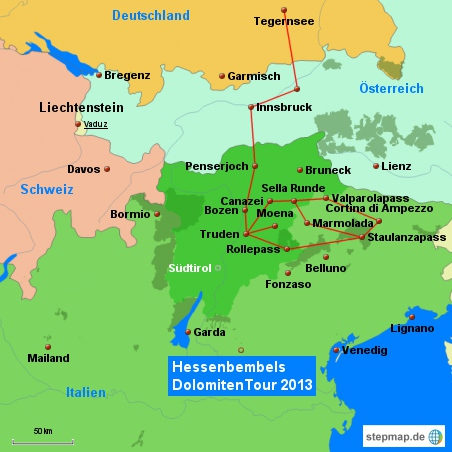Tourkarte Dolomitentour 2013 Von München nach Truden ( Flieg mit ) Hessenbembels das Video