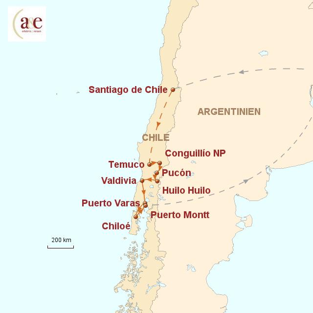 Routenkarte zur Reise Seen, Vulkane & Chiloé