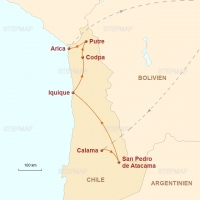 Routenkarte zur Reise Altiplano, Wüsten und Meer