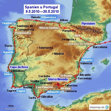 Tourkarte Spanien Portugal