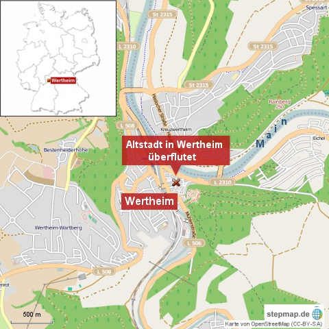 Altstadt in Wertheim überflutet