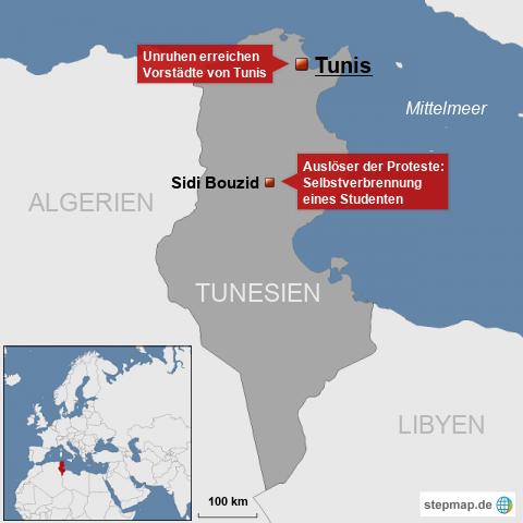 Unruhen in Tunesien erreichen Tunis