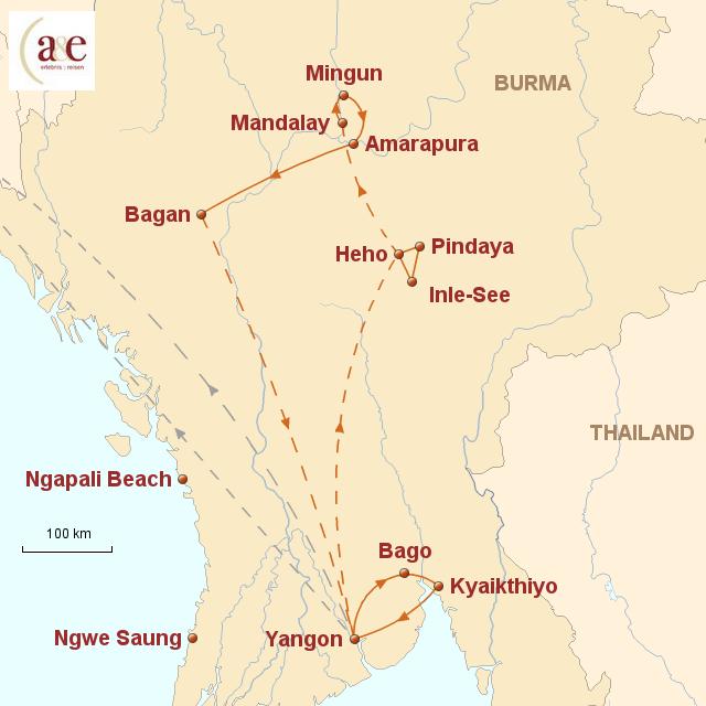 Routenkarte zur Reise Ursprünglichkeit Asiens 2017