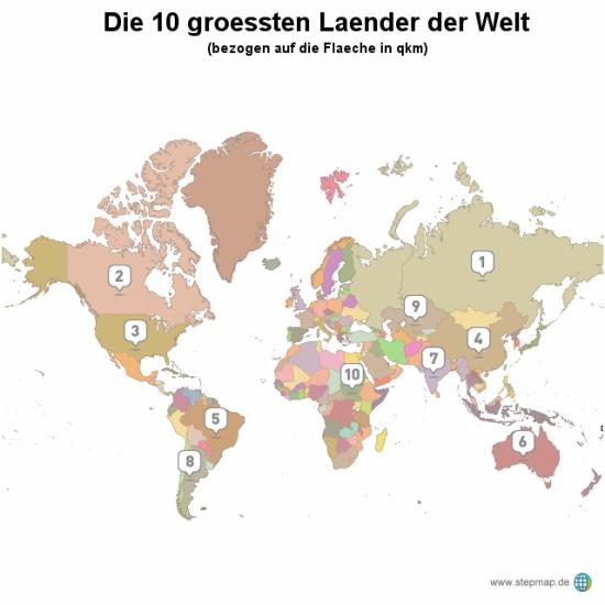 Die 10 groessten Laender der Welt