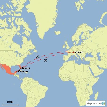 Flugrouten der Reise. interaktive Karte