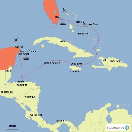 Kreuzfahrt durch die Karibik. interaktive Karte