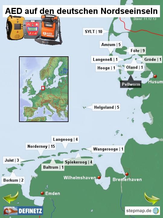 Defibrillatoren auf den deutschen Nordseeinseln