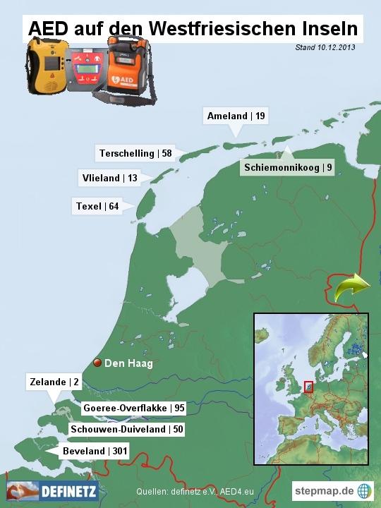 Defibrillatoren auf den niederländischen Inseln