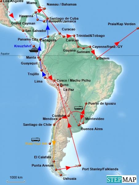 Der südamerikanische Kontinent ist zu groß, um eine detailliertere Karte zu zeichnen