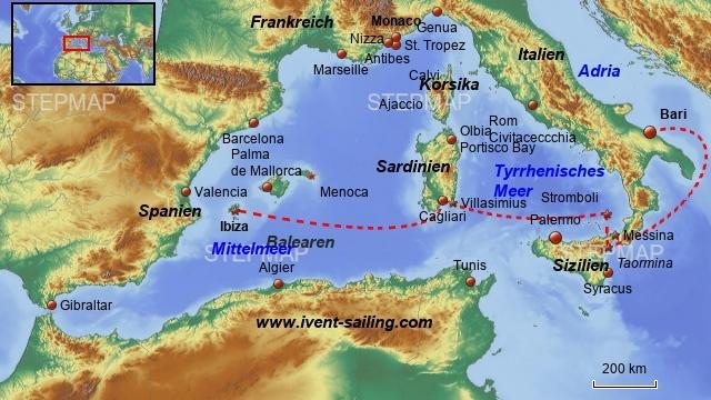 Segelrevier westliches Mittelmeer