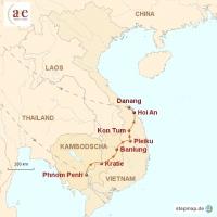 Routenkarte zur Reise Dörfliches Kambodscha & Vietnam