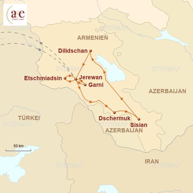 Routenkarte zur Reise Zu Füßen des Ararat