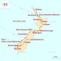 Routenkarte zur Reise Faszination Neuseeland individuell erleben