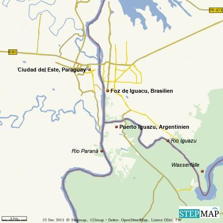 Das Drei-Ländereck Argentinien-Brasilien-Paraguay rund um die Iguazuwasserfälle, auch Tres-Fronteras genannt