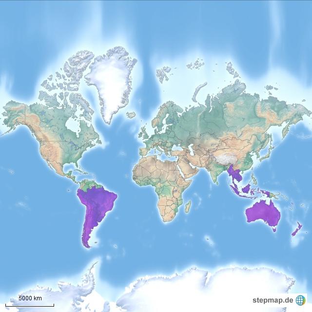 Hier hab ich mal die Länder eingefärbt, die ich beabsichtige zu besuchen.  (Vietnam, Kambodscha, Thailand, Myanmar, Laos, Malaysia, Indonesien, Australien, Neuseeland, Chile, Argentinien, Uruguay, Brasilien, Paraguay, Bolivien, Peru, Ecuador)