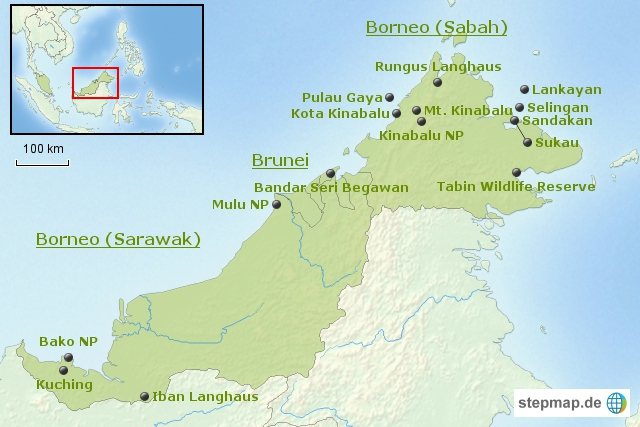 Malaysia: Bausteinübersicht Borneo
