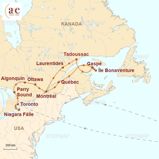 Routenkarte zur Reise Indian Summer in Ostkanada