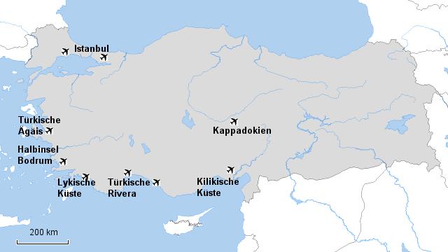 Türkeikarte und Reiseinformationen oeger.de