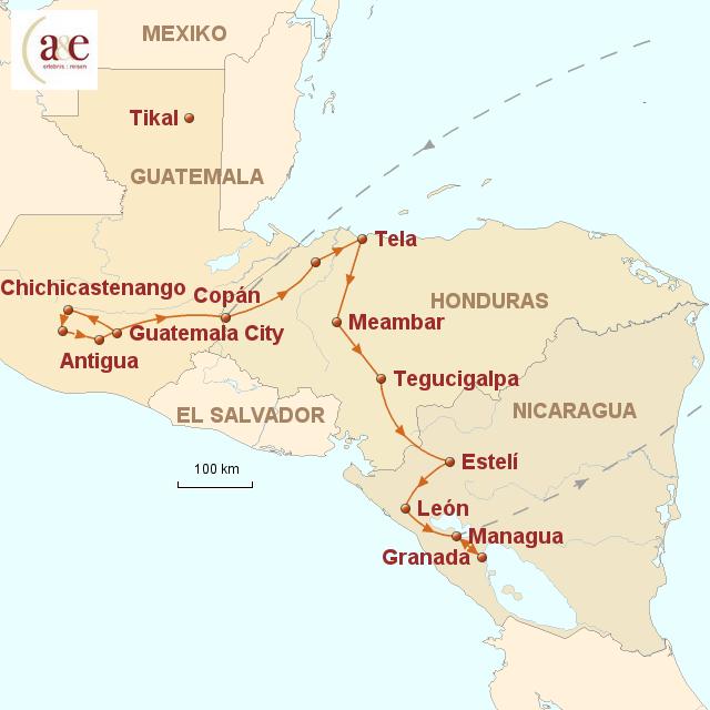 Routenkarte zur Reise Best of Mesoamerika