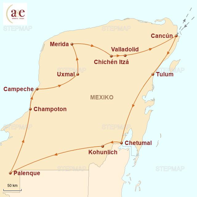 Routenkarte zur Reise Höhepunkte Yucatán