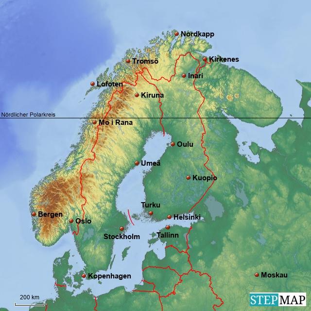 Skandinavien Übersichtkarte