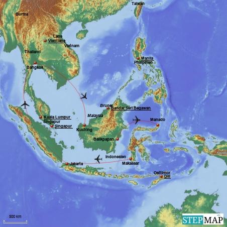 Start- und Endpunkt dieser Reise ist Bangkok. Nach einer Nacht in Bangkok geht es nach Kuching, dem malayischen Teil Borneos.Von dort arbeiten wir uns über die Nord-und Ostküste Borneos bis nach Balikpapan durch. Nachdem wir Sulawesi von Nord nach Süd einmal durchquert haben, verbringen wir noch 3 bis 4 Tage rund um Jakarta.