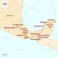 Routenkarte zur Reise Mayaruinen, Dschungel und mehr!