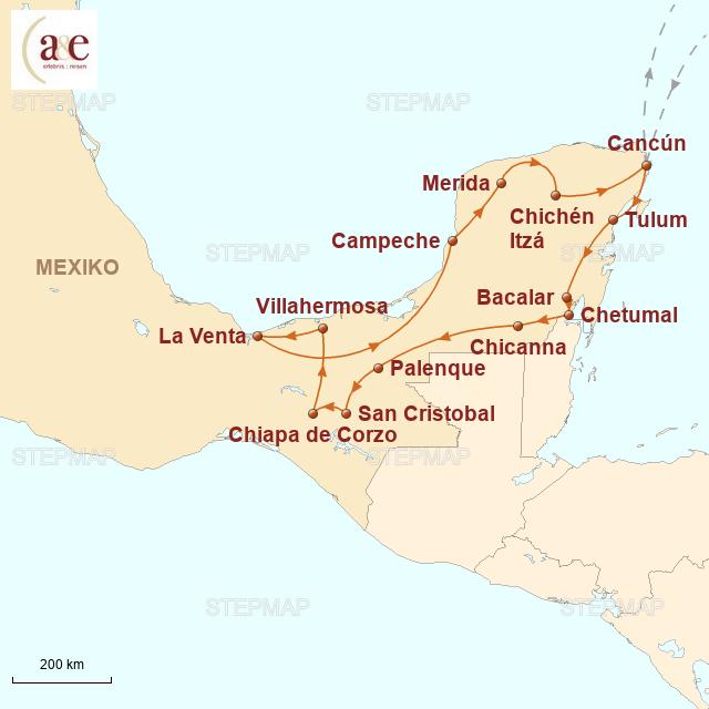 Routenkarte zur Reise Yucatán-Halbinsel Mietwagenreise