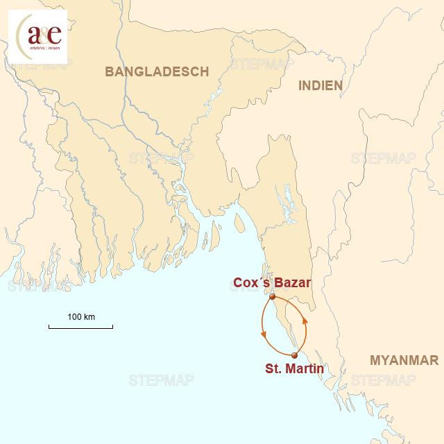 Routenkarte zur Reise Inseltour & Strandtage in Cox's Bazar