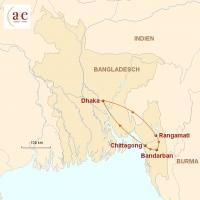 Routenkarte zur Reise Durch Bandarbans Bergwelt...