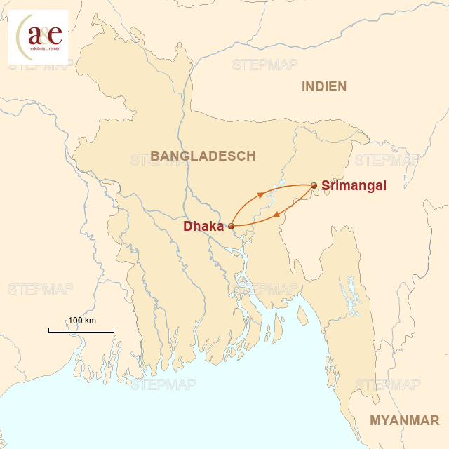 Routenkarte zur Reise Srimongol per Rad & zu Fuß