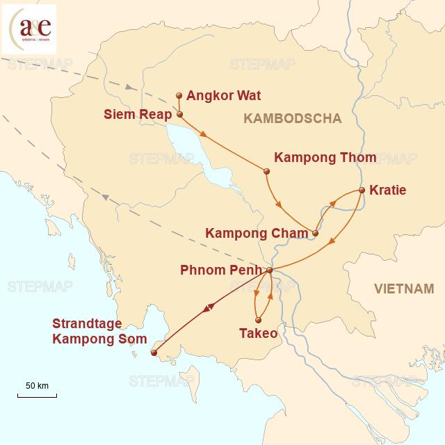 Routenkarte zur Reise Khmer & mehr