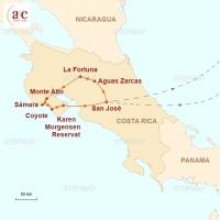 Routenkarte zur Reise Costa Rica mit dem Fahrrad