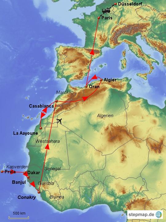 Meine geplante Route in West- und Nordafrika