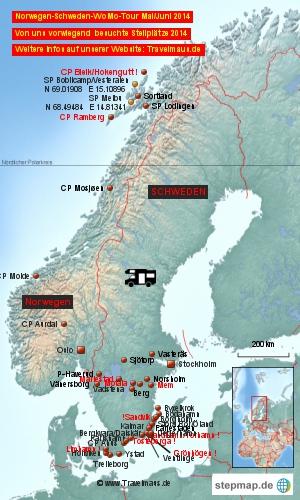 Norwegen-Schweden-Stellplätze 2014