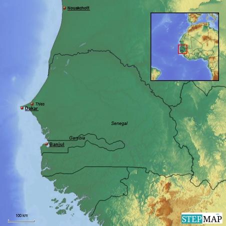 """Dakar bleibt leider der einzige Ort im Senegal, dann gibt es noch einen kurzen Abstecher nach Banjul, Hauptstadt des """"kanonenschussbreiten"""" Gambias"""