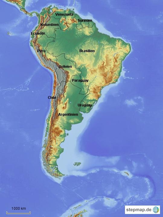Da man ja nicht unbedingt jederzeit eine Karte von Südamerika vor dem geistigen Auge hat, haben wir mal eine erstellt.