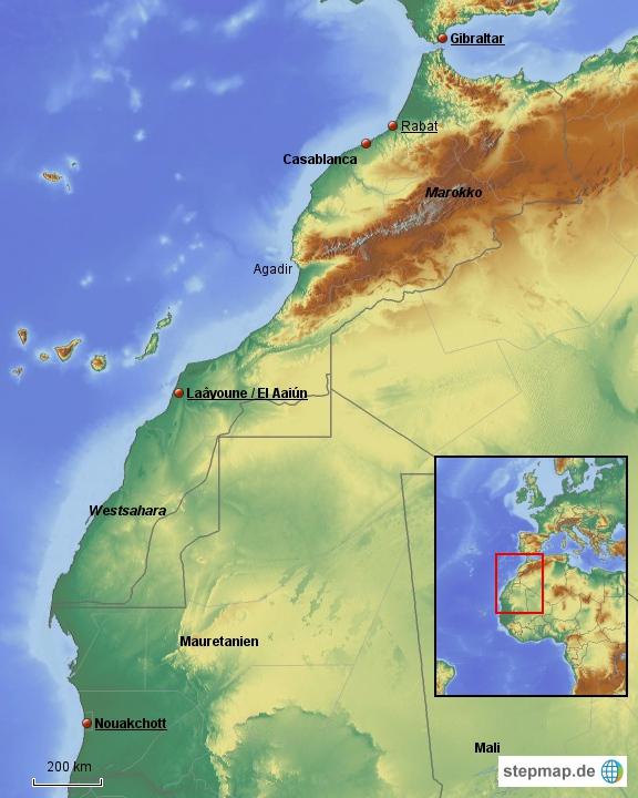 Marokko inkl. Westsahara im Nordwesten Afrikas