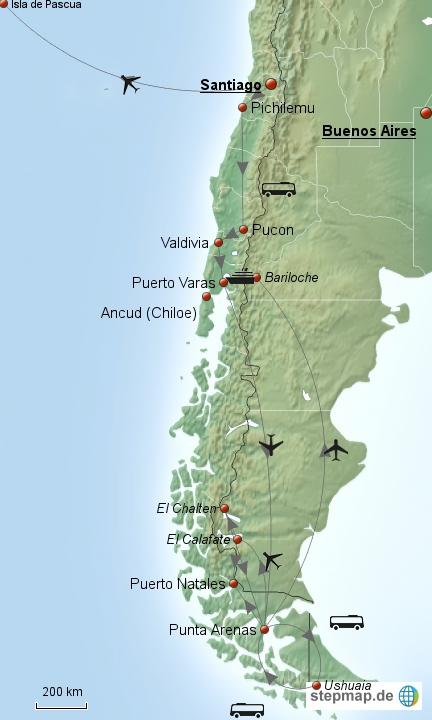 Kreuz und quer durch Chile mit einem Abstecher nach Argentinien und einem Ausflug auf die Osterinsel (Isla de Pascua). Insgesamt war ich ca. 8 Wochen in Chile unterwegs. Mir kommt es allerdings vor, wie zwei Wochen...